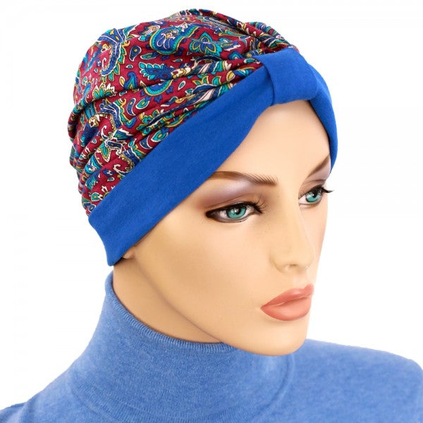 Turban Two Tone - Bright Navy Paisley Burgundy, Cream, Teal - New for Spring - Hello Courage | Chemo Hats - Cancer Caps - Cancer Scarves - Headcovers - Cancer Beanies - Headwear for Hair Loss - Gifts for  Cancer Patients with Hair Loss - Alopecia