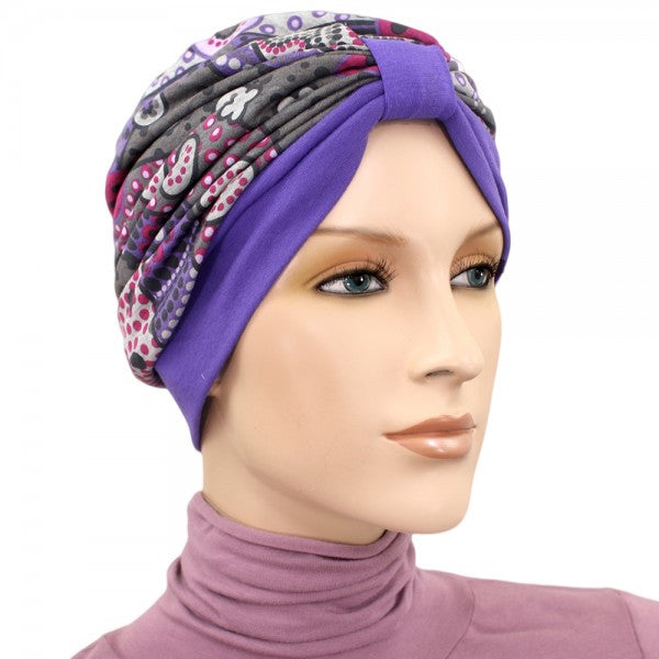 Turban Two Tone - Purple, Gray, Fuschia - New for Spring
