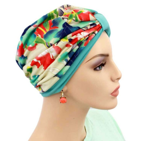 Turban Two Tone Turquoise - New for Spring - Hello Courage | Chemo Hats - Cancer Caps - Cancer Scarves - Headcovers - Cancer Beanies - Headwear for Hair Loss - Gifts for  Cancer Patients with Hair Loss - Alopecia