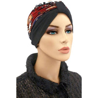 Turban Two Tone Black, Gray, Rust  - New for Fall