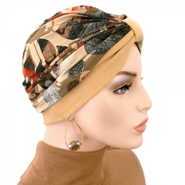 Turban Two Tone Tan - New for Spring - Hello Courage | Chemo Hats - Cancer Caps - Cancer Scarves - Headcovers - Cancer Beanies - Headwear for Hair Loss - Gifts for  Cancer Patients with Hair Loss - Alopecia