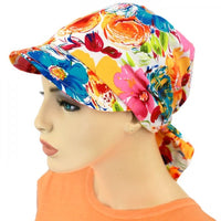 SUN HAT with Visor  - Adjustable - French Flowers