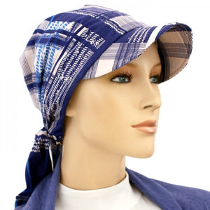 SUN HAT with Visor  - Denim Plaid - Hello Courage | Chemo Hats - Cancer Caps - Cancer Scarves - Headcovers - Cancer Beanies - Headwear for Hair Loss - Gifts for  Cancer Patients with Hair Loss - Alopecia