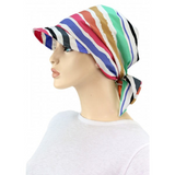 SUN HAT with Visor  - Adjustable - Colorful Stripes