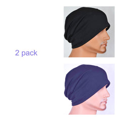 Men's Collection - 2 pack - Navy and Black - Hello Courage | Chemo Hats - Cancer Caps - Cancer Scarves - Headcovers - Cancer Beanies - Headwear for Hair Loss - Gifts for  Cancer Patients with Hair Loss - Alopecia