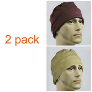 Men's Collection . . .2 PACK - Brown and Tan - Hello Courage | Chemo Hats - Cancer Caps - Cancer Scarves - Headcovers - Cancer Beanies - Headwear for Hair Loss - Gifts for  Cancer Patients with Hair Loss - Alopecia