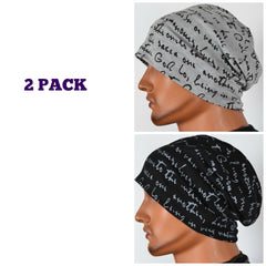 Men's Collection - 2 pack - Gray AND Black Inspirational Caps - Hello Courage | Chemo Hats - Cancer Caps - Cancer Scarves - Headcovers - Cancer Beanies - Headwear for Hair Loss - Gifts for  Cancer Patients with Hair Loss - Alopecia