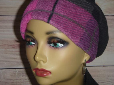 Designer Collection  -Fuschia Purple Black Fleece - Hello Courage | Chemo Hats - Cancer Caps - Cancer Scarves - Headcovers - Cancer Beanies - Headwear for Hair Loss - Gifts for  Cancer Patients with Hair Loss - Alopecia