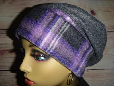 Designer Collection  - Purple Black Gray White Fleece - Hello Courage | Chemo Hats - Cancer Caps - Cancer Scarves - Headcovers - Cancer Beanies - Headwear for Hair Loss - Gifts for  Cancer Patients with Hair Loss - Alopecia