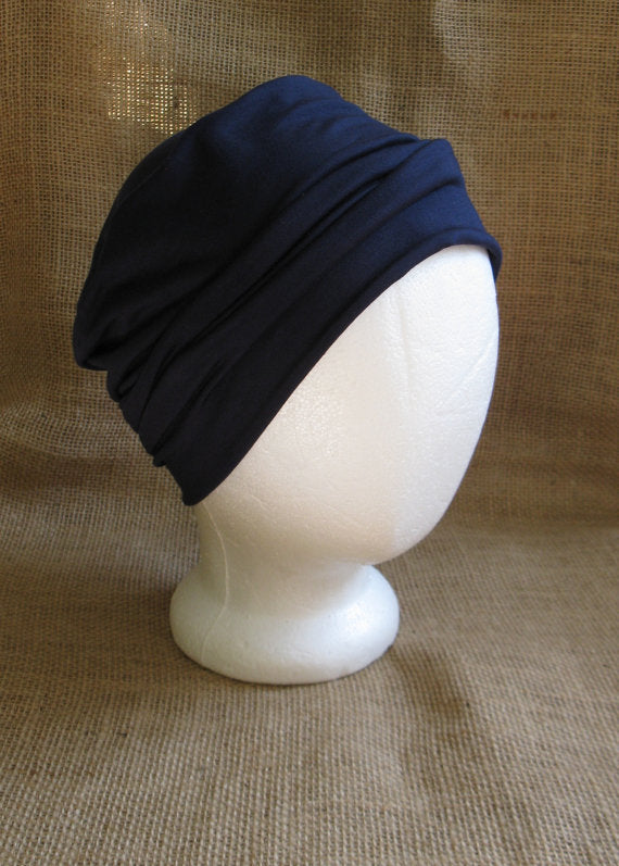 Slouchy Beanie in Navy Blue - Hello Courage | Chemo Hats - Cancer Caps - Cancer Scarves - Headcovers - Cancer Beanies - Headwear for Hair Loss - Gifts for  Cancer Patients with Hair Loss - Alopecia