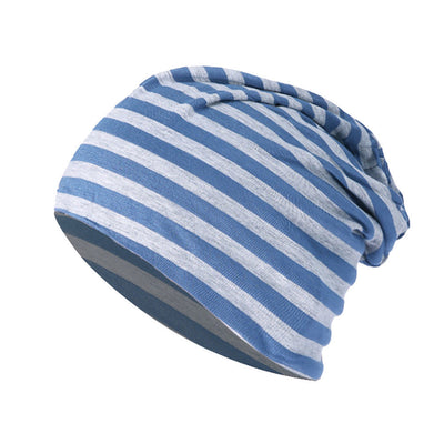 Slouchy Beanie in Light Blue and Gray Stripe - Size Large - New