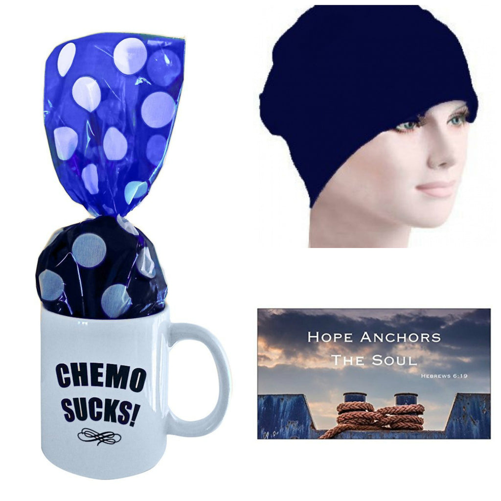 Chemo Sucks Mug with Chemo Cap and Magnet - Hello Courage | Chemo Hats - Cancer Caps - Cancer Scarves - Headcovers - Cancer Beanies - Headwear for Hair Loss - Gifts for  Cancer Patients with Hair Loss - Alopecia