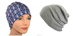 Budget Collection - 2 hats ...Blue Print Lounge and Gray Heather Slouchy