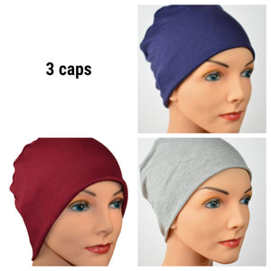 Cozy Collection - 3 hats ...Heather Gray, Navy Blue, Burgundy - Size Small/Medium Bamboo - Hello Courage | Chemo Hats - Cancer Caps - Cancer Scarves - Headcovers - Cancer Beanies - Headwear for Hair Loss - Gifts for  Cancer Patients with Hair Loss - Alopecia