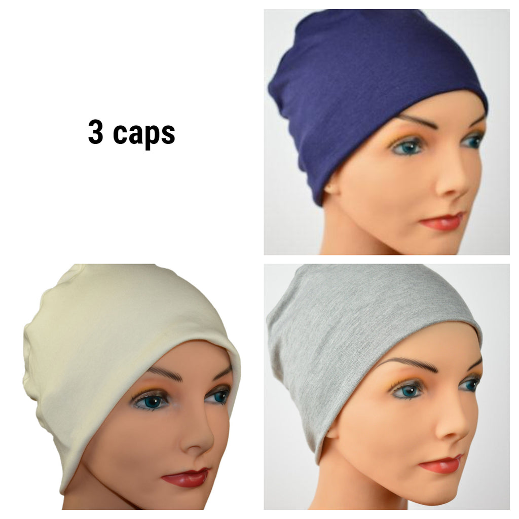 Cozy Collection - 3 hats ...Heather Gray, Navy Blue, Creamy White - Size Small/Medium Bamboo - Hello Courage | Chemo Hats - Cancer Caps - Cancer Scarves - Headcovers - Cancer Beanies - Headwear for Hair Loss - Gifts for  Cancer Patients with Hair Loss - Alopecia