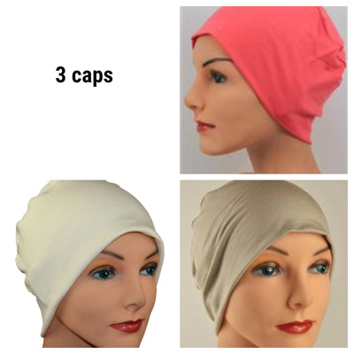 Cozy Collection - 3 hats -  Organic Luxury Bamboo, Coral, Creamy White, Khaki - Small / Medium and Large - Hello Courage | Chemo Hats - Cancer Caps - Cancer Scarves - Headcovers - Cancer Beanies - Headwear for Hair Loss - Gifts for  Cancer Patients with Hair Loss - Alopecia