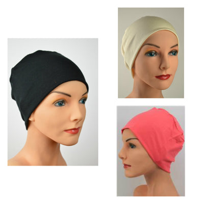 Cozy Collection - 3 hats - Black, Coral, Creamy White - Small / Medium, Large - Hello Courage | Chemo Hats - Cancer Caps - Cancer Scarves - Headcovers - Cancer Beanies - Headwear for Hair Loss - Gifts for  Cancer Patients with Hair Loss - Alopecia