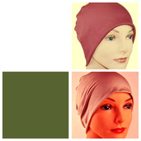 Cozy Collection - 3 hats - Organic Bamboo - Light Burgundy, Chestnut Tan, Moss Green