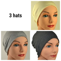 Cozy Collection - 3 hats - Organic Bamboo - Creamy White, Light & Dark Gray - Small / Medium / Large