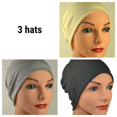 Cozy Collection - 3 hats - Organic Bamboo - Creamy White, Light & Dark Gray - Small / Medium / Large - Hello Courage | Chemo Hats - Cancer Caps - Cancer Scarves - Headcovers - Cancer Beanies - Headwear for Hair Loss - Gifts for  Cancer Patients with Hair Loss - Alopecia