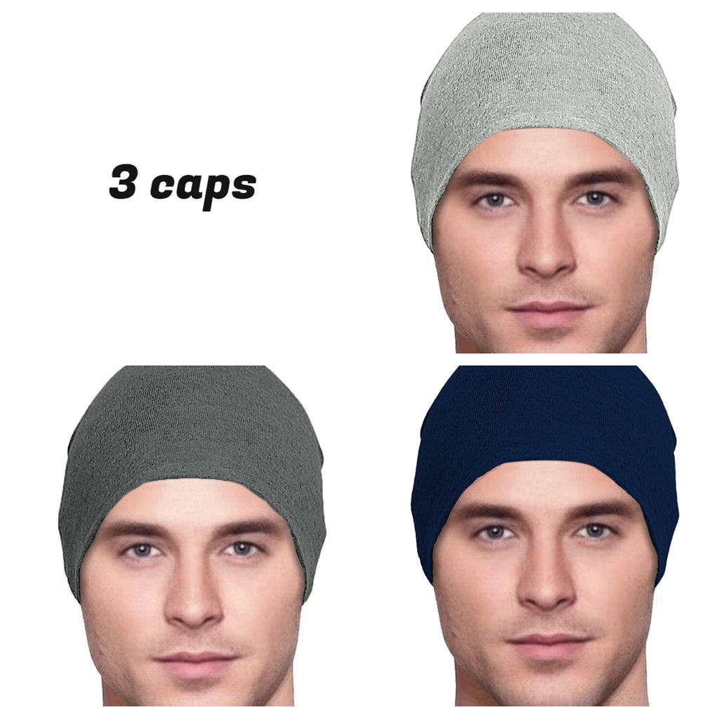 Men's Collection - 3 hats - Organic Bamboo - Light Gray, Dark Gray, Black - Hello Courage | Chemo Hats - Cancer Caps - Cancer Scarves - Headcovers - Cancer Beanies - Headwear for Hair Loss - Gifts for  Cancer Patients with Hair Loss - Alopecia