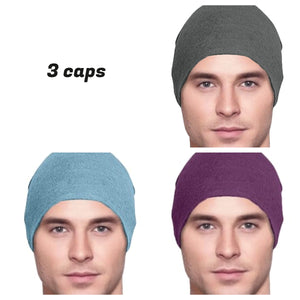 Men's Collection - 3 hats - Lightweight - Organic Bamboo - Dark Gray, Light Blue, Dark Purple - Hello Courage | Chemo Hats - Cancer Caps - Cancer Scarves - Headcovers - Cancer Beanies - Headwear for Hair Loss - Gifts for  Cancer Patients with Hair Loss - Alopecia