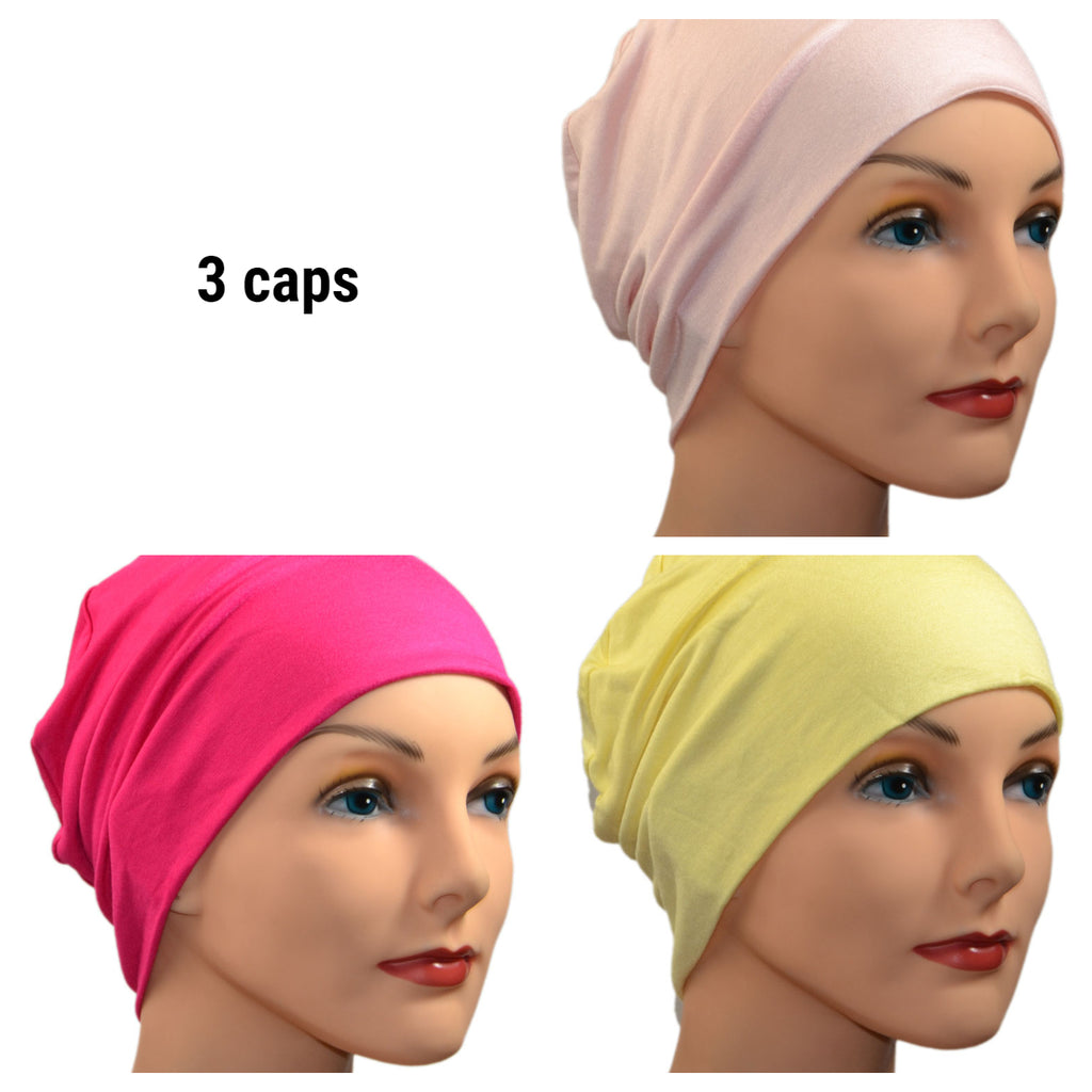 Cozy Collection - 3 hats -  Organic Luxury Bamboo, Light Pink, Fuschia, Pale Yellow - Small / Medium and Large - Hello Courage | Chemo Hats - Cancer Caps - Cancer Scarves - Headcovers - Cancer Beanies - Headwear for Hair Loss - Gifts for  Cancer Patients with Hair Loss - Alopecia