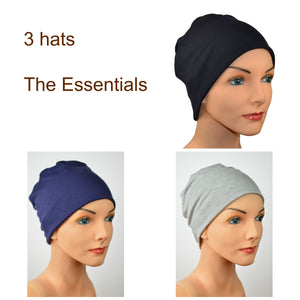 Cozy Collection - 3 hats - Luxury Organic Bamboo - Black, Gray, Navy - Small/Medium & Large - Hello Courage | Chemo Hats - Cancer Caps - Cancer Scarves - Headcovers - Cancer Beanies - Headwear for Hair Loss - Gifts for  Cancer Patients with Hair Loss - Alopecia