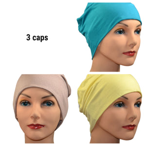 Cozy Collection - 3 hats -  Organic Luxury Bamboo,  Turquoise, Coffee with Cream, Pale Yellow - Small / Medium and Large - Hello Courage | Chemo Hats - Cancer Caps - Cancer Scarves - Headcovers - Cancer Beanies - Headwear for Hair Loss - Gifts for  Cancer Patients with Hair Loss - Alopecia