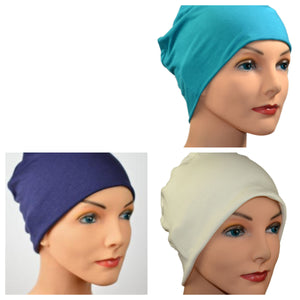 Cozy Collection - 3 hats -  Organic Luxury Bamboo,  Slate Blue, Navy Blue, Creamy White  - Small / Medium and Large - Hello Courage | Chemo Hats - Cancer Caps - Cancer Scarves - Headcovers - Cancer Beanies - Headwear for Hair Loss - Gifts for  Cancer Patients with Hair Loss - Alopecia