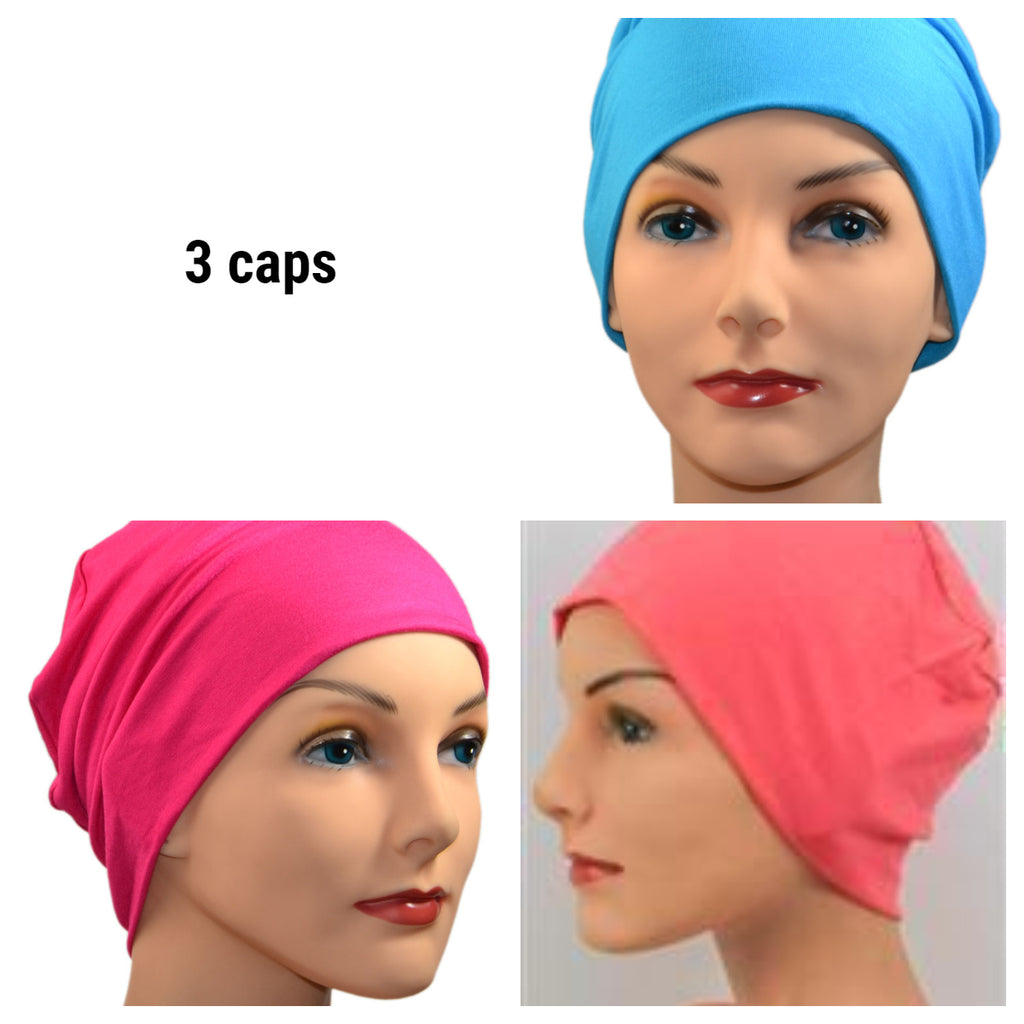 Cozy Collection - 3 hats -  Organic Luxury Bamboo - Fuschia, Coral, Turquoise - Small / Medium and Large - Hello Courage | Chemo Hats - Cancer Caps - Cancer Scarves - Headcovers - Cancer Beanies - Headwear for Hair Loss - Gifts for  Cancer Patients with Hair Loss - Alopecia