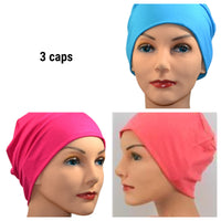 Cozy Collection - 3 hats -  Organic Luxury Bamboo - Fuschia, Coral, Turquoise - Small / Medium and Large