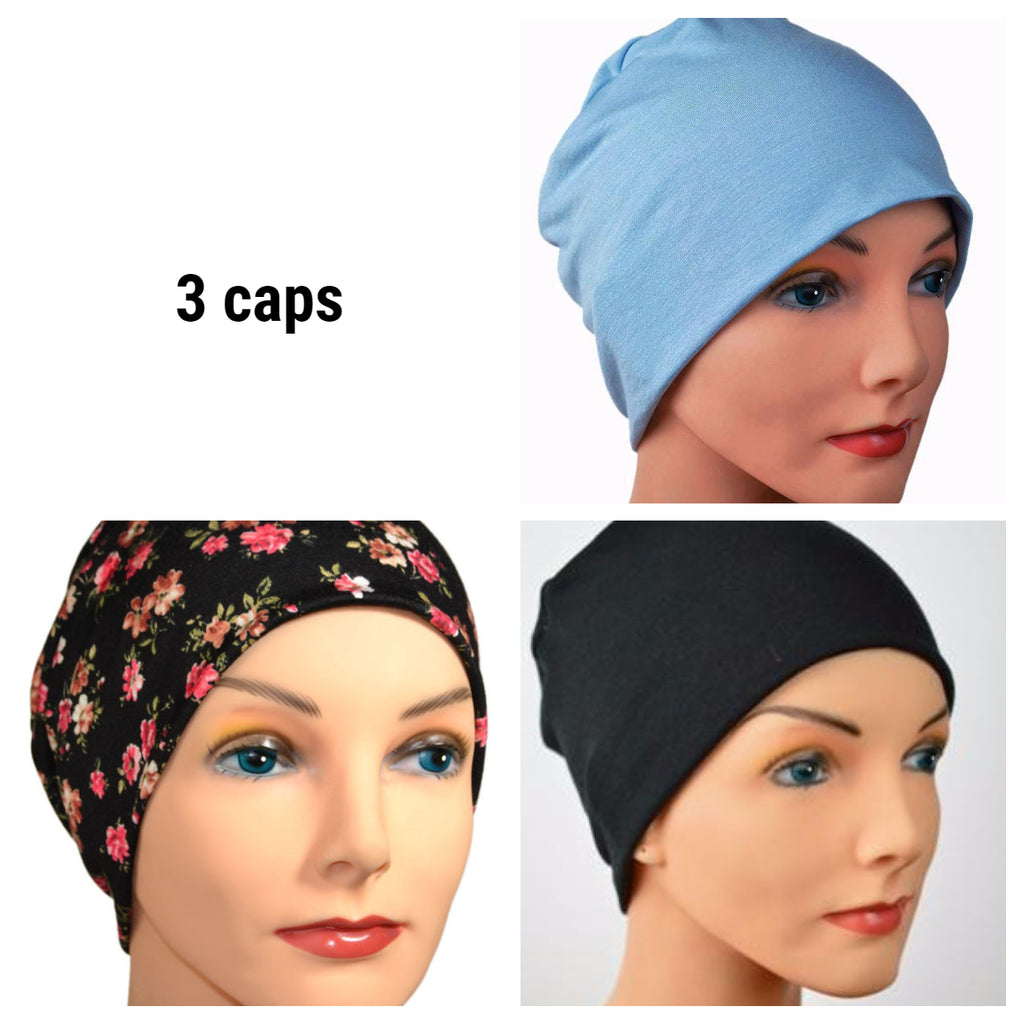 Cozy Collection - 3 hats - Black Print, Blue, Black - Hello Courage | Chemo Hats - Cancer Caps - Cancer Scarves - Headcovers - Cancer Beanies - Headwear for Hair Loss - Gifts for  Cancer Patients with Hair Loss - Alopecia