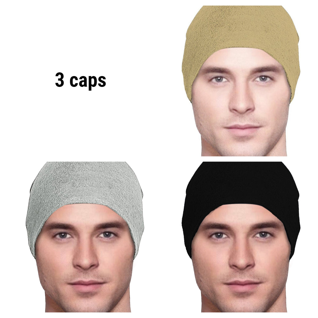 Men's Collection - 3 hats - Organic Bamboo - Khaki, Light Gray, Black - Hello Courage | Chemo Hats - Cancer Caps - Cancer Scarves - Headcovers - Cancer Beanies - Headwear for Hair Loss - Gifts for  Cancer Patients with Hair Loss - Alopecia