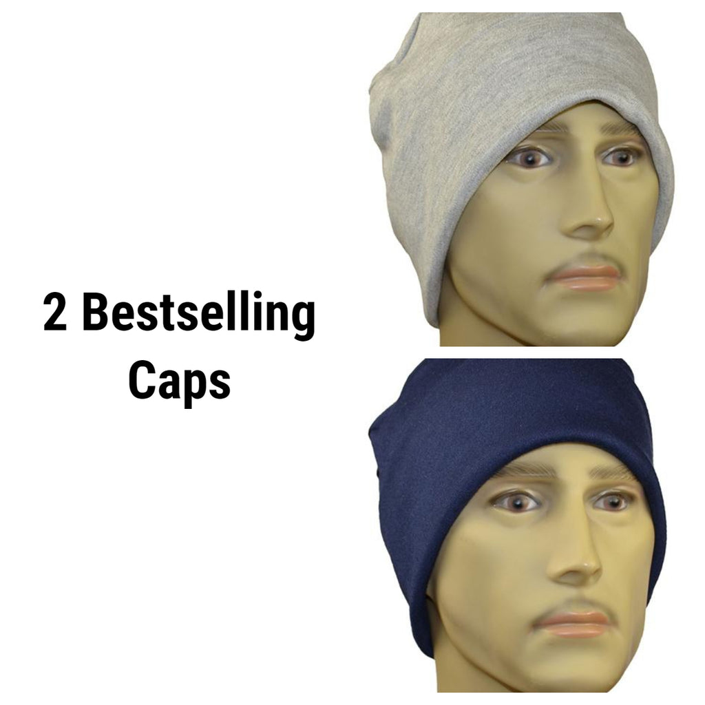 Men's Collection - 2 Rollup Caps -  Soft Cotton/Bamboo - Gray and Navy