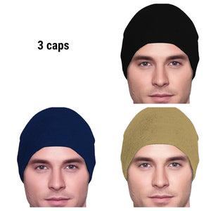 Men's Collection - 3 hats - Organic Bamboo - Black, Navy Blue, Khaki - Small / Medium and Large - Hello Courage | Chemo Hats - Cancer Caps - Cancer Scarves - Headcovers - Cancer Beanies - Headwear for Hair Loss - Gifts for  Cancer Patients with Hair Loss - Alopecia