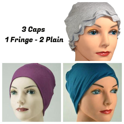 Cozy Collection - 3 hats .. Gray Fringe, Eggplant Purple, Topaz Blue - Hello Courage | Chemo Hats - Cancer Caps - Cancer Scarves - Headcovers - Cancer Beanies - Headwear for Hair Loss - Gifts for  Cancer Patients with Hair Loss - Alopecia