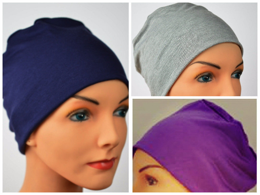 Cozy Collection - 3 hats ...Navy Blue, Gray,  Purple - Hello Courage | Chemo Hats - Cancer Caps - Cancer Scarves - Headcovers - Cancer Beanies - Headwear for Hair Loss - Gifts for  Cancer Patients with Hair Loss - Alopecia