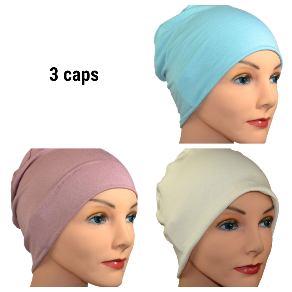 Cozy Collection - 3 hats ...Turquoise, Mauve, Creamy White Small/Medium in Bamboo - Hello Courage | Chemo Hats - Cancer Caps - Cancer Scarves - Headcovers - Cancer Beanies - Headwear for Hair Loss - Gifts for  Cancer Patients with Hair Loss - Alopecia