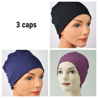 Cozy Collection - 3 hats - Luxury Organic Bamboo - Black, Navy,  Purple