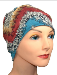 Cozy Collection in Zig Zag Teal Black Russet - Hello Courage | Chemo Hats - Cancer Caps - Cancer Scarves - Headcovers - Cancer Beanies - Headwear for Hair Loss - Gifts for  Cancer Patients with Hair Loss - Alopecia