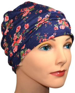 Cozy Collection - Blue Summer Flowers - Size Large - Hello Courage | Chemo Hats - Cancer Caps - Cancer Scarves - Headcovers - Cancer Beanies - Headwear for Hair Loss - Gifts for  Cancer Patients with Hair Loss - Alopecia