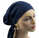 Pre-tied Short Scarf -Navy Blue Cotton Knit- NEW