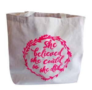 Canvas TOTE BAG - She Believed She Could So She Did - includes inspirational magnet