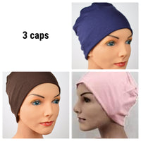 Cozy Collection - 3 hats ...Organic Bamboo in Navy, Brown, Peach