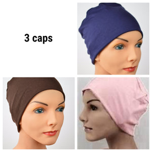 Cozy Collection - 3 hats ...Organic Bamboo in Navy, Brown, Peachy Pink - Small / Medium / Large - Hello Courage | Chemo Hats - Cancer Caps - Cancer Scarves - Headcovers - Cancer Beanies - Headwear for Hair Loss - Gifts for  Cancer Patients with Hair Loss - Alopecia