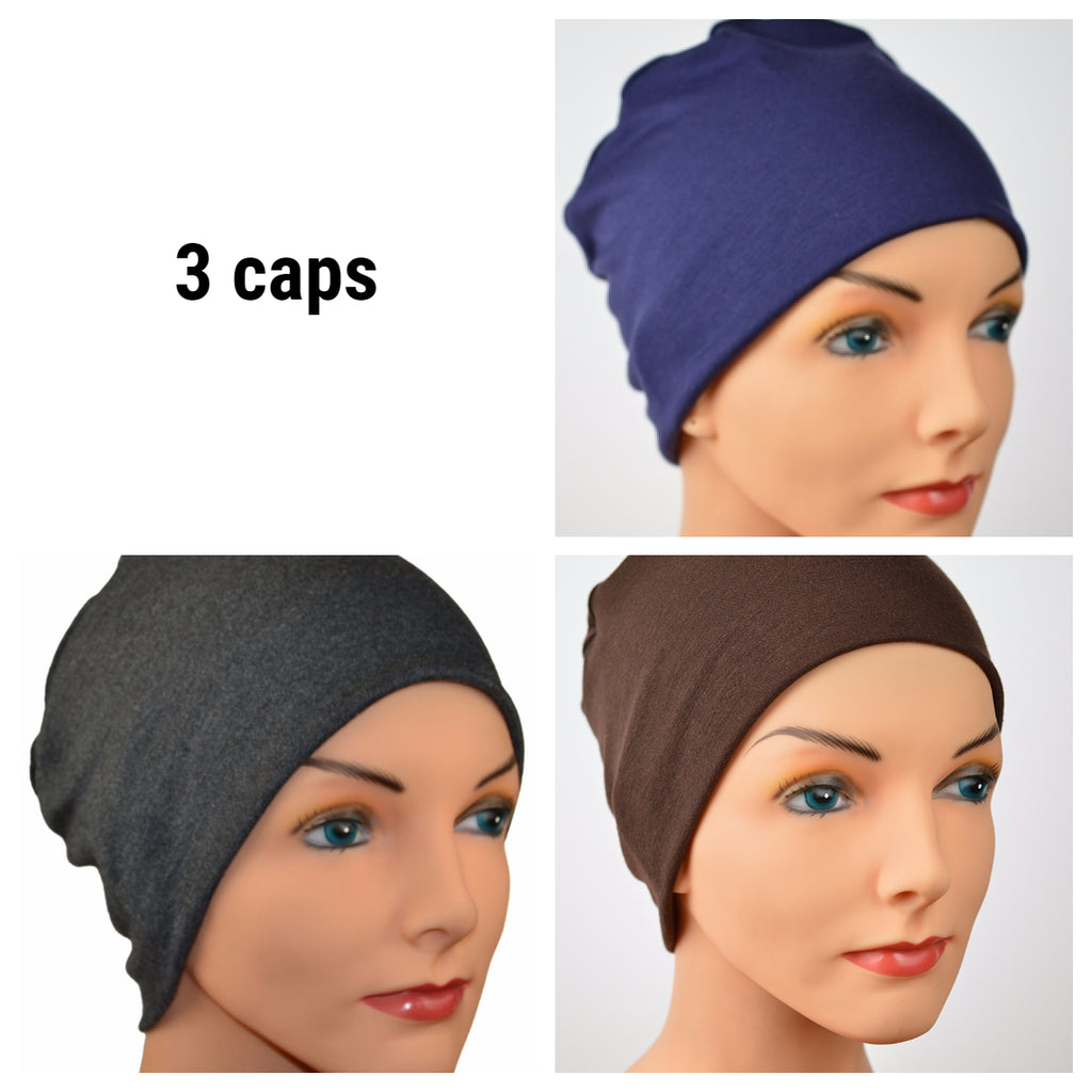 Cozy Collection - 3 hats - Navy Blue, Granite Grey, Chocolate Brown - Hello Courage | Chemo Hats - Cancer Caps - Cancer Scarves - Headcovers - Cancer Beanies - Headwear for Hair Loss - Gifts for  Cancer Patients with Hair Loss - Alopecia