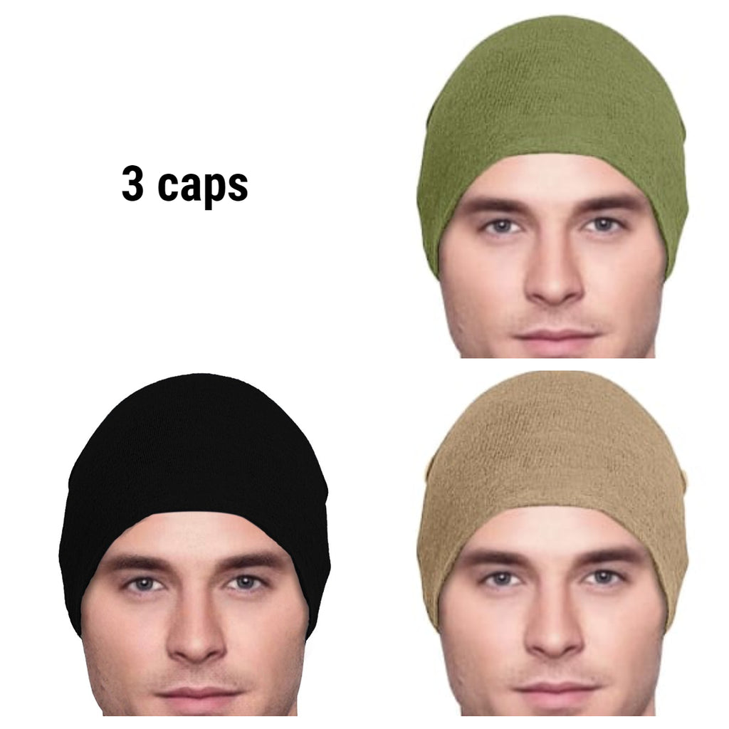 Men's Collection - 3 hats - Organic Bamboo - Black, Army Green, Cocoa Khaki  - Lightweight