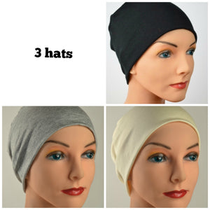 Budget Collection - 3 hats - The Neutrals - Black, Gray, Creamy White - Hello Courage | Chemo Hats - Cancer Caps - Cancer Scarves - Headcovers - Cancer Beanies - Headwear for Hair Loss - Gifts for  Cancer Patients with Hair Loss - Alopecia