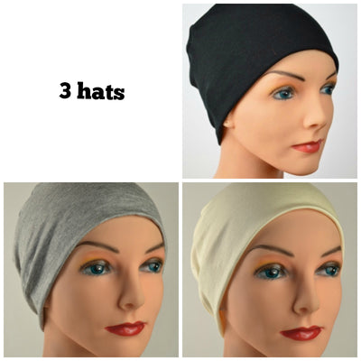 Cozy Collection - 3 hats - Organic Bamboo - THE NEUTRALS - Black, Gray, Creamy White - Small/Medium & Large - Hello Courage | Chemo Hats - Cancer Caps - Cancer Scarves - Headcovers - Cancer Beanies - Headwear for Hair Loss - Gifts for  Cancer Patients with Hair Loss - Alopecia